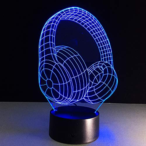 Headset 3D Illusion Lampe Nachtlicht Mit 7 Farben Blinken & Touch-Schalter Usb Powered, Schlafzimmer Schreibtischlampe Für Kids'Gifts Home Decoration Batterie-powered-headset