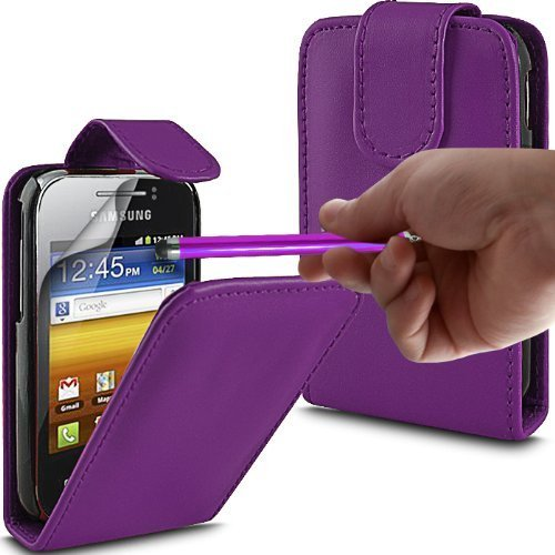 Modaccess Schutzhülle / Klapphülle für Samsung Galaxy GT-S5360 (Kunstleder, luxuriös, inkl. 3xDisplayschutzfolie und Stylus-Eingabestift), Violett