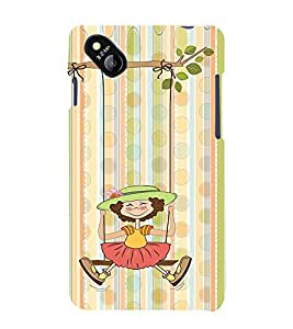 Girl Swing Design 3D Hard Polycarbonate Designer Back Case Cover for Micromax Bolt D303
