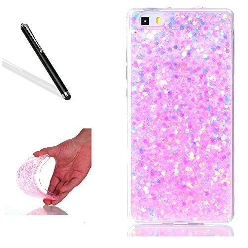 Hülle für Huawei P8 Lite 2015,Glitzer Hülle für Huawei P8 Lite 2015,Leeook Ultra Dünn Flexibel Shiny Strass Silikon Bumper Schale Rückseite Handyhülle Schutzhülle Pink Verfärben Bling Glitter Durchsichtige TPU Crystal Case Backcover Tasche Etui für Huawei P8 Lite 2015 + 1 x Schwarze Eingabestift-Verfärben Pink (Light Pink Bumper Case)