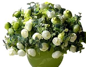 VLUNT fiori artificiali in mazzo di fiori finti, con camelia Bouquet Decorazione per Party, set da da 6 pezzi bianco