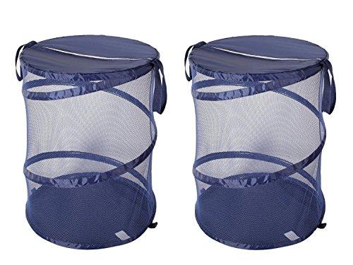 StorageManiac Mesh-Pop-up-Wäschekörbe, faltbare Wäschekörbe, tragbare Taschen, Mesh-Taschen und verstärkte Griffe für schmutzige Wäsche, dunkelblau, 2er Pack