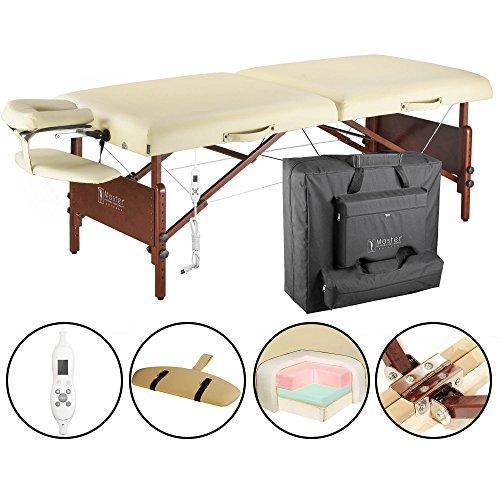 Master Massage 71cm Del Ray Pro Tragbarer Massage-Therapie Beauty Couch Tisch Massageliegen Bett Paket, sand Farbe, luxuriöser mit 6.4cm dick Kissen aus Schaumstoff (Therma Top EU Plug) -