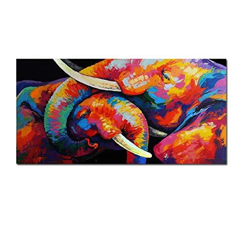 zxddzl Bunter Elefant und Baby-Wandbild-Segeltuch-Malerei-Plakat im Wohnzimmer und im Schlafzimmer 70X140CM ungerahmt 878249333eb3335136aa -