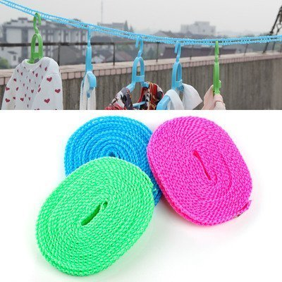 K Kudos Enterprise Outdoor Windproof Clothesline Travel Retractable Rope with Hooks Washing Line 5 Mtr Long (Assorted) – (1 Pc)