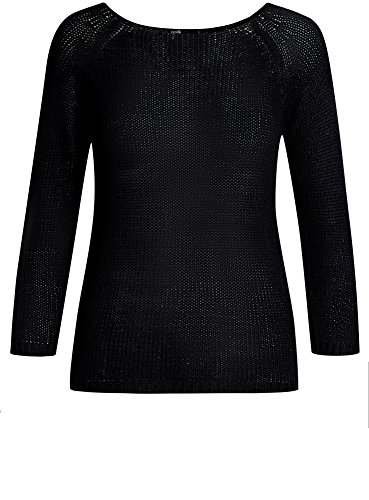 oodji Ultra Damen Pullover Basic mit Rundhalsausschnitt Schwarz (2900N)