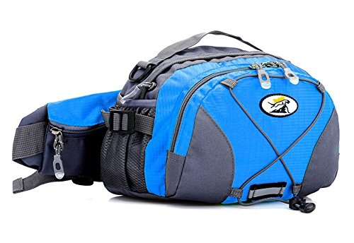 LifeWheel Wasserdicht Fanny-Satz mit 2 Flaschenhalter , 3-Reißverschlüsse und verstellbare Polyweb Taillengürtel für Damen Outdoor Sports & Travel (Blau Jungen Camo Sky)
