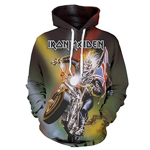 Sudaderas con Capucha,Iron Maiden Estampado En 3D Heavy Metal Rock, Gran Sudadera con Capucha@L_Rock