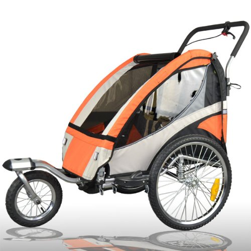 Remolque de bici para niños completamente amortiguado con kit de footing, color: NARANJA 504S-03