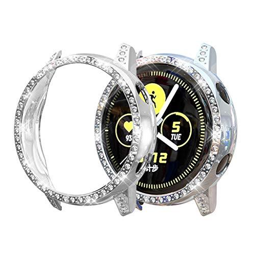 Displayschutzfolie für Samsung Galaxy watch Active Smartwatch Luxus Kristall Schutzhülle Ultra Slim Durchsichtige Case Crystal Clear Full Screen Abdeckung für Samsung Galaxy watch Active 40mm (Silber)
