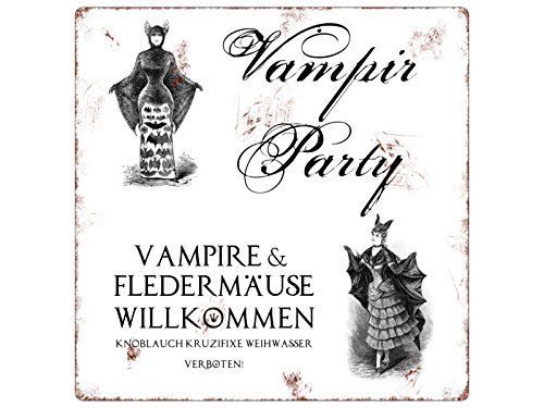 20x20cm METALLSCHILD Türschild VAMPIR PARTY Deko Halloween Türschild Gruselig