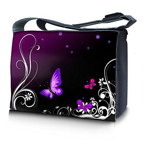 Luxburg® design sac en bandoulière sacoche sac collège daily bag 15,6 pouces, motif: Papillons lilas