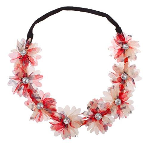 LUX Zubehör Chiffon Stoff Multi Color Koralle rot Blume Floral Kristall Stretch Stirnband Head Band