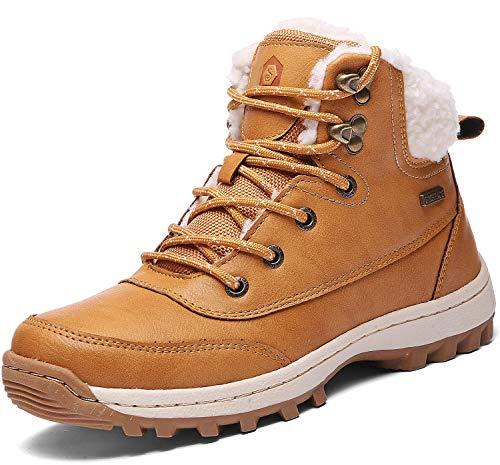 SIXSPACE Damen Winterstiefel Warm Gefütterte Winterschuhe Outdoor Schneestiefel Wanderschuhe Rutschfeste Arbeitsschuhe Winter Boots(Gelb, 39 EU)