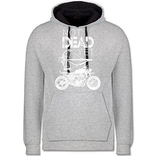 Statement Shirts - Not Dead Yet - Motorrad Armbrust - Kontrast Hoodie Grau meliert/Dunkelblau