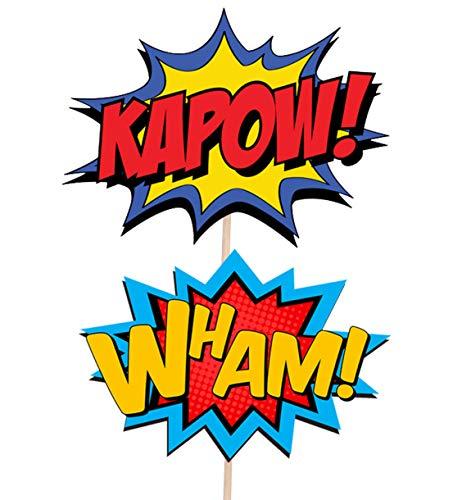 516%2BhVcvUeL - AK Giftshop Call out Speak - Burbujas de Dibujos Animados de superhéroes para cumpleaños, Eventos, Comida para Fiestas, Cupcakes, Palillos y Decoraciones para Banderas de Alimentos (Pack de 14)
