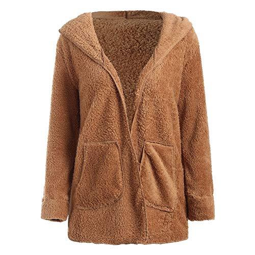 AMUSTER Damen Jacke Plüsch Mantel Damen loose Sweatshirt mit Kapuze Mantel Langärmelige Einfarbige Strickjacke Jacke mit Taschen Warmen Winter