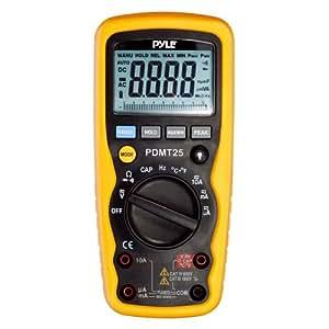 Pyle Multimètre numérique pour mesure de tension, courant, résistance, Cycle, température, fréquence et capacité