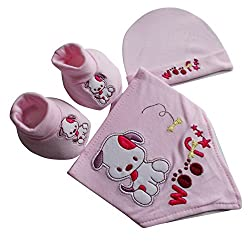 BabyGirls Bandana Bib Hat and Bootees Gift Set Pink born Infant Set