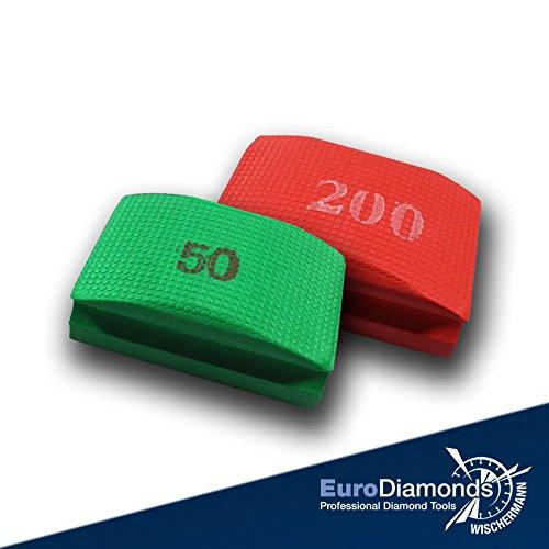 Das Original Diamant-Handschleifpad, Schleifschwamm Spar Set 2-tlg. Körnung 50, 200, für Marmor, Glas, Kunststein, Granit, Naturstein, Keramik