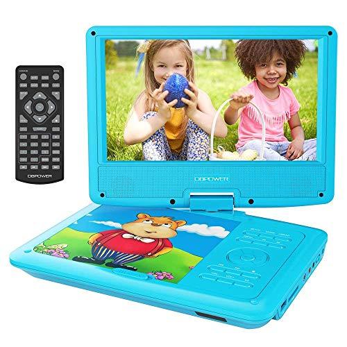 """DBPower® 11.5"""" Lecteur DVD Portable, pile Rechargeable de 4 Heures, avec Ecran orientable, Compatibilité Carte SD et Interface USB, lit Directement les Formats AVI, RMVB, MP3 et JPEG (Bleu)"""