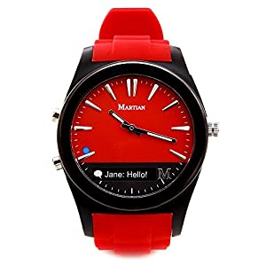 Martian MN200RBR Notifer Fashion Smartwatch with Text and App Alerts (iOS and Android Compatible) - Red