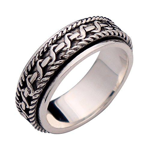 FORFOX Herren Damen Vintage Echt Sterling Silber Twist Seil Spinner Ring Band 7mm -