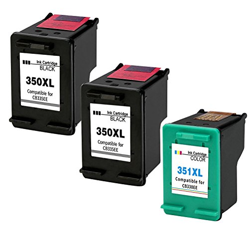 Kyansin rigenerata HP 350 351 Cartucce d'inchiostro Sostituzione per 350XL 351XL Compatibile per HP Photosmart C4580 C4585 C4480 C4380 C5280 C4280 C4580 C4585 C4500 C4485, 3 Pack (2 Nero, 1 colore)
