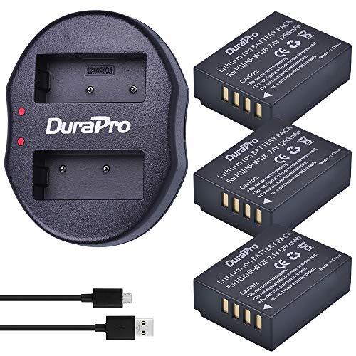 DuraPro 3Pcs NP-W126 NP W126 Battery + Dual USB Charger for Fujifilm NP  W126 NP W126S Fuji FinePix HS30EXR X-A1 X-A2 X-E1 X-E2 X-E2S X-H1 X-M1  X-Pro1