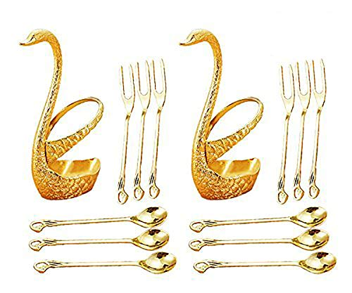 CRIVERS Innovative Edelstahl Geschirr Set & Obst Gabel Set & Dessert Besteck Set, Dekorative Swan Basis Halter mit 3 Gabeln und 3 Löffel (2-er Set) (Gold) (Besteck-set-halter)