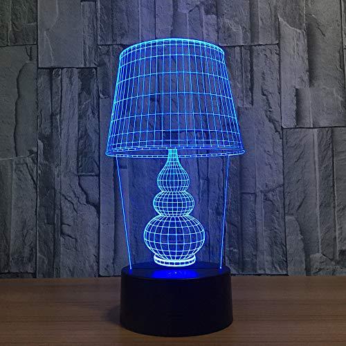 Bbdeng 3D-Nachtlicht Energie Sparen LED-Touch-Farbe Beleuchtung Kreative Kinder Schlafen Tischlampe USB Oder Batterie Große Scheinwerferabdeckung Remote control