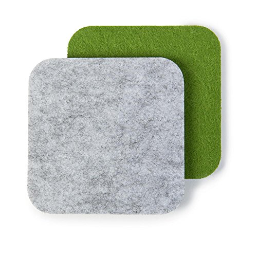 FILZUNTERSETZER zweifarbig, quadratisch, 8er Set, hellgrau/grün (Farbkombination wählbar). Glasuntersetzer beidseitig nutzbar. Untersetzer eckig, aus Filz schützen Tisch & Bar
