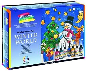 Nerchau 218707 - Juego para decorar vidrio (7 colores, botes de 80 ml, diseños de invierno) importado de Alemania