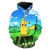ZXTXGG Männer 3D Hoodies Karikatur Anime Pikachu Muster Digitaldruck Kapuzenpullis Liebhaber Kapuzenpullis Großhandel(S,Himmelblau)
