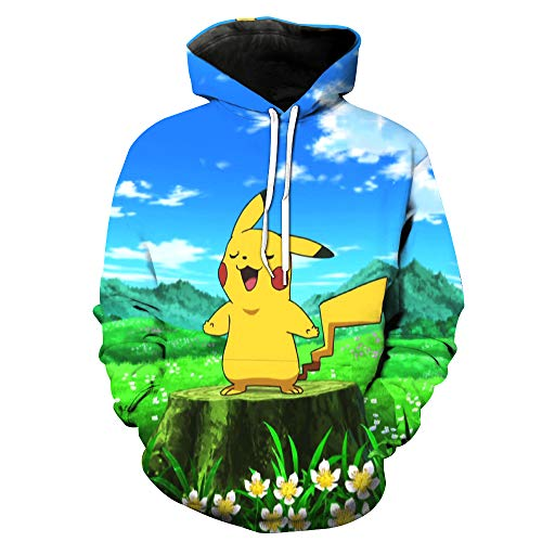 ZXTXGG Männer 3D Hoodies Karikatur Anime Pikachu Muster Digitaldruck Kapuzenpullis Liebhaber Kapuzenpullis Großhandel(L,Himmelblau)