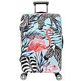 Housse de Valise en Forme de Flamant 18-32 Pouces Luggage Cover en Polyester Couleur Unie Clear Voyage Luggage Trolley Case Cover Protector (Flamant 4, L)
