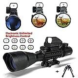 Fucile Cannocchiale includere Monopiedi e bipiedi, UMsky Binocoli da fucile 4-16x50 Mirini con zoom illuminato reticolo, Visual rosso e verde, l'uso di caccia, ad alta precisione, per tattica aria pistola (Scope b)