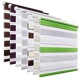 OUBO Doppelrollo Klemmfix ohne Bohren 60 x 150 cm (BxH) Grau Fenster Duo Rollo mit Klemmträgern 60 cm Breit