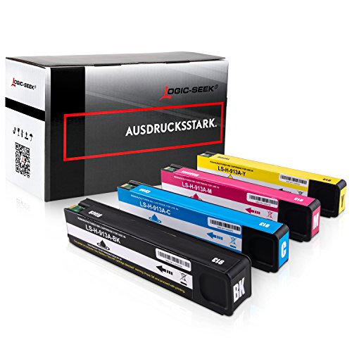 Preisvergleich Produktbild Logic-Seek 4 Tintenpatronen kompatibel zu HP 913A für HP Pagewide 352dw Pro 452dn 452dw 452dwt