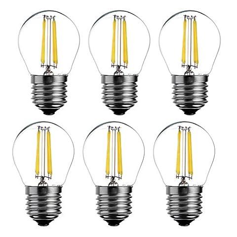 6-Pack LED Vintage-Glühbirne, 4 W, 400Lumen, 6000 K (Daylight), omnidirektional, mittel Basis (E27), IC DRIVER, 230 V, dimmbar, ul-listed - (Pack von 6) yt-g45-8