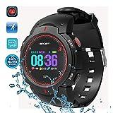 DTNO.1 sport orologio intelligente, IP68 50m impermeabile contapassi – tempo reale frequenza cardiaca informazioni Push chiamata promemoria fitness tracker per uomini donne studenti (Rosso)