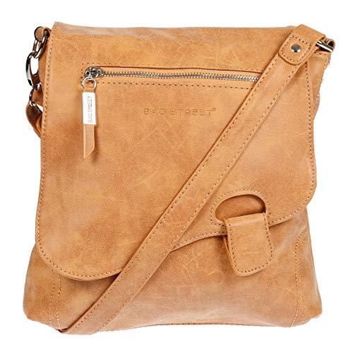 Bag Street - Sac à main - sac à bandoulière - aspect usé - bouton de fermeture, cognac (Marron) - 3421