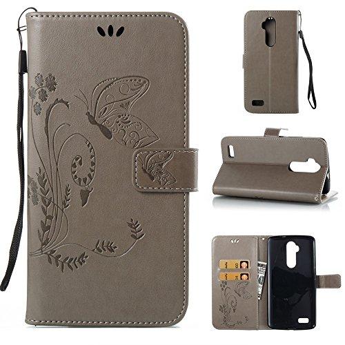 Solid Color Faux Leder Bookstyle Brieftasche Stand Case mit geprägten Blumen & Lanyard & Card Slots für ZTE Z986 ( Color : Gray ) Gray