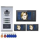 Sistema citofono videocitofonico Kit videocitofono per appartamento multi-unità, monitor LCD da 7 pollici per l'appartamento 3, monitoraggio del supporto, sblocco, visione notturna IR