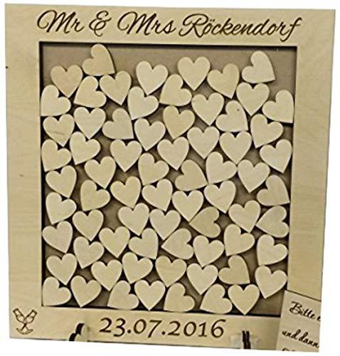 Personalisiertes Hochzeits-Gästebuch, in Herzform, Holz, Herzen 56 Geschenk Geburtstag Hochzeit, rustikaler shabby chic 37 x 34 cm