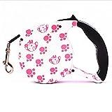POPETPOP Einziehbare Hundeleine mit Einem Knopfverschluss ON/Off Komfortabler ergonomischer Griff für Kleine bis große Hunde (rosa Pfote)