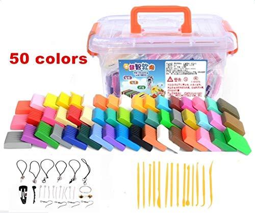 Polymer Clay,Worsendy Polymer Ton 50 Farben Clay Ofen Figur DIY Basteln Scrapbooking und Skulptur Werkzeug-Set Modellierung Molding Werkzeug-Set Bestes Geschenk für Kinder - Polymer Clay Farbe