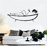 wandaufkleber glitzer Wandmalerei sagen Wall Decal Aufkleber Kunst Wandbild Home Decor Zitat Spa Therapy Salon Relax Schönheit Frau mit Teetasse auf dem Bett