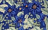 BHXINGMU 3D-Tapeten Benutzerdefinierte Fototapeten Blau Floral Große Blätter Schlafzimmer Wandbilder Tapetenaufkleber 50Cm(H)×90Cm(W)