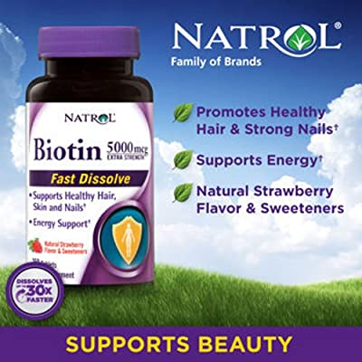 Natrol Biotin Extra Strength 5000 mcg- 250 Fast Dissolve Strawberry Flavored Tablets by Natrol